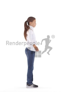 Rigged human 3D model by Renderpeople – white girl in casual clothes