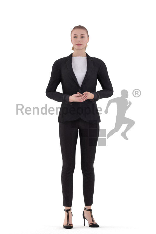 Human 3D model for animations – european woman in business look, standing and presenting