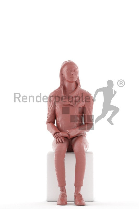 3D People model for animations –european woman in outdoor look look, sitting