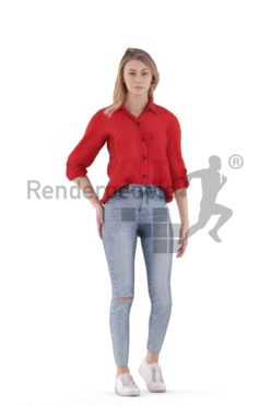 Animated 3D People model for Unreal Engine and Unity – european woman, smart casual, standing