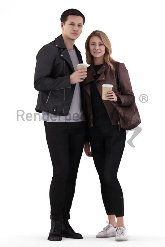 Posed 3D People model for renderings – young european couple standing and drinking coffee