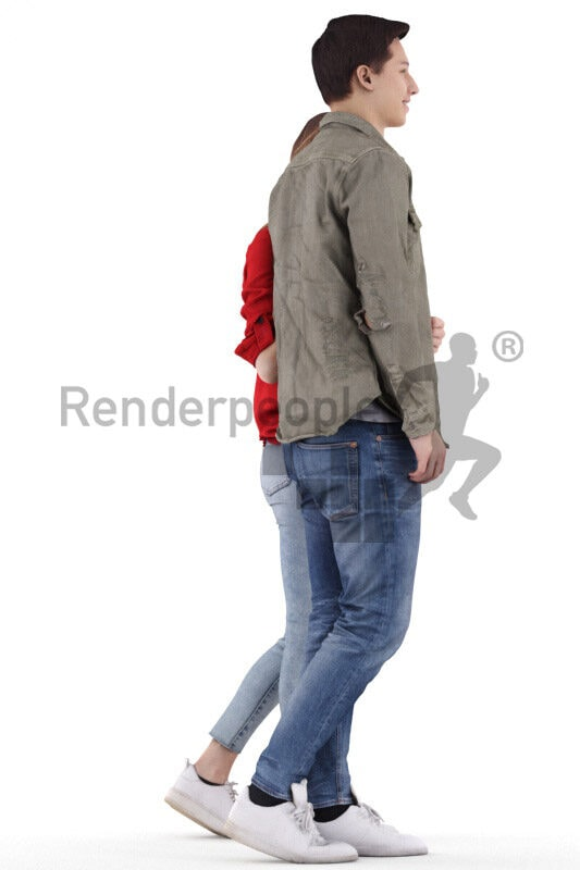 Posed 3D People model by Renderpeople – european couple in casual look, walking arm in arm