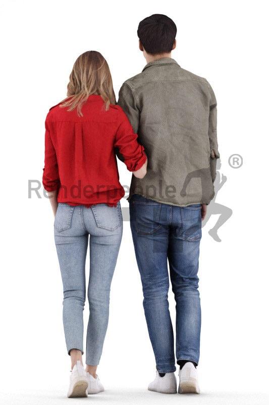 Posed 3D People model by Renderpeople – european couple in casual look, walking arm in arm