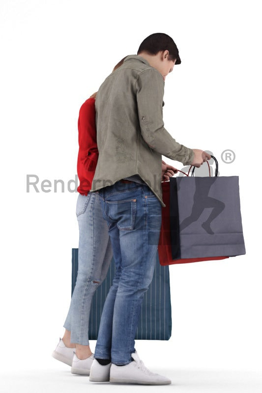 Scanned human 3D model by Renderpeople – young european couple ath thr shopping mall, looking in theire bags, casual look