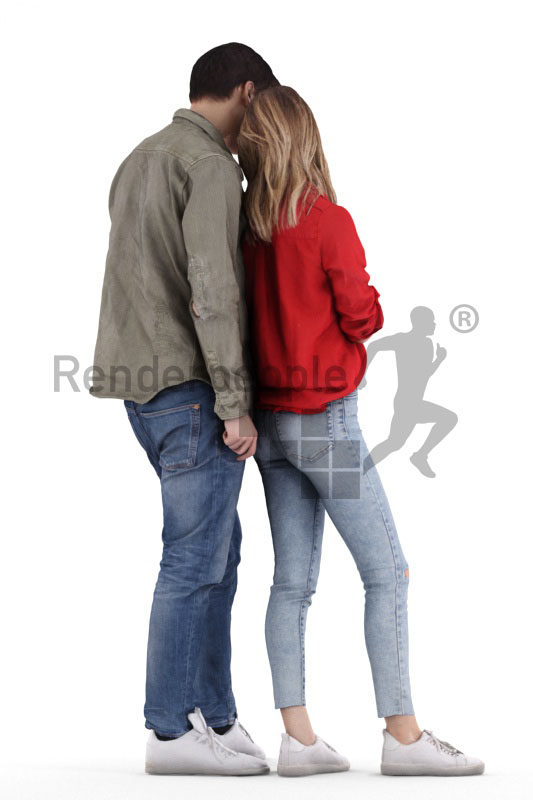 Scanned 3D People model for visualization – couple in casual clothes, woman showing her boyfriend something on her smartphone