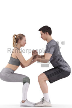 Photorealistic 3D People model by Renderpeople – european couple doing workout