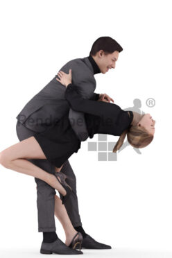 3D People model for 3ds Max and Cinema 4D – european couple dancing in chic event outfits