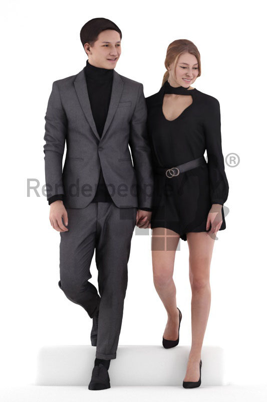 Scanned 3D People model for visualization – white couple in suit and dress, event
