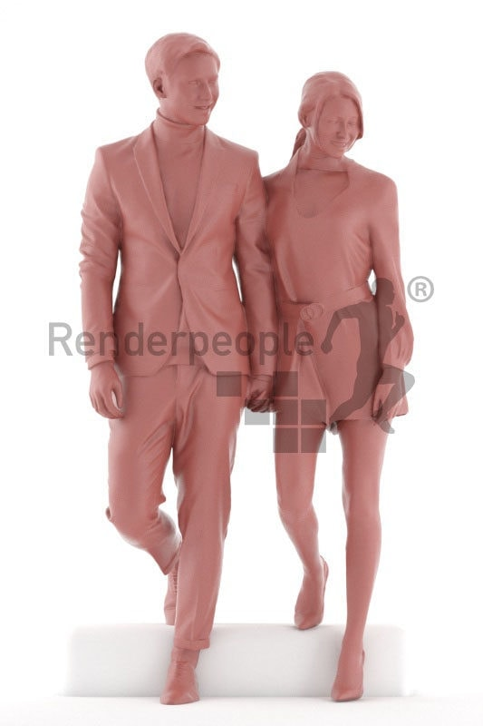 Scanned 3D People model for visualization – white couple in suit and dress, event, walking downstairs