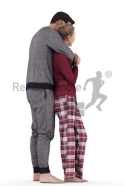 Posed 3D People model for renderings – white couple in sleepwear, cuddling