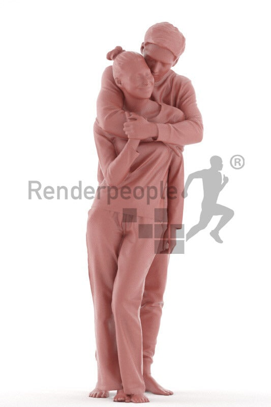 Posed 3D People model for renderings – white couple in sleepwear, cuddling