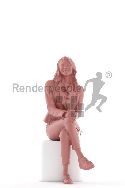 Photorealistic 3D People model by Renderpeople – european woman, sitting with casual clothes