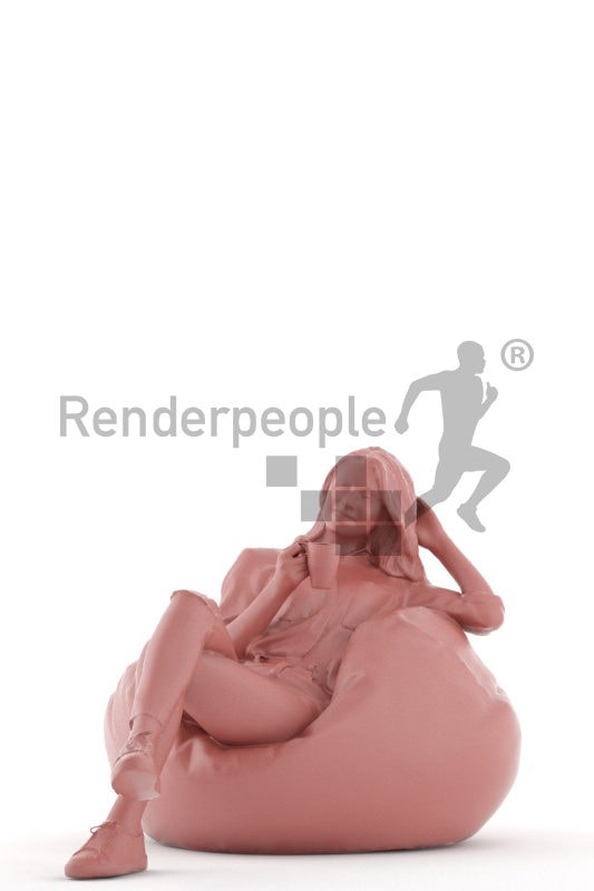 3D People model for 3ds Max and Blender – european woman relaxing on a beanbag