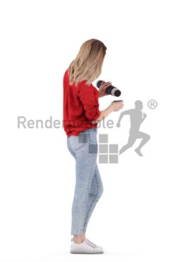 3D People model for 3ds Max and Sketch Up – european woman in daily outfit, standing with a thermo can
