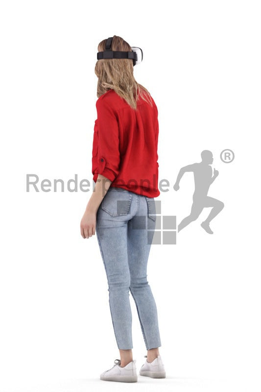 3D People model for 3ds Max and Sketch Up – european woman in casual clothes, wearing a vr headset