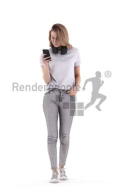 Posed 3D People model for visualization – white woman in casual outfit, walking while typing on smartphone