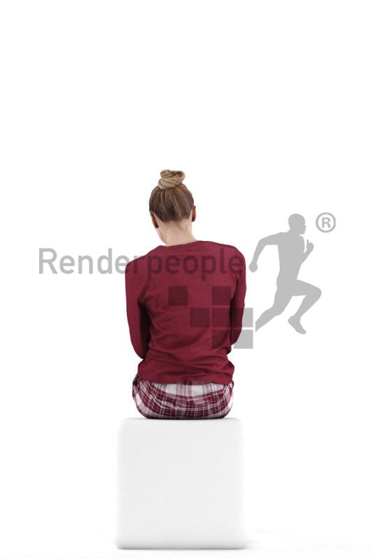 Posed 3D People model for visualization – european woman wearing pyjama, sitting and eating cereals