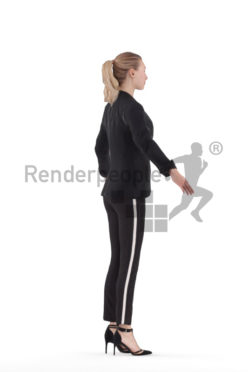 Rigged and retopologized 3D People model – european female in office look