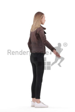 3d people casual outdoor, 3d white woman rigged