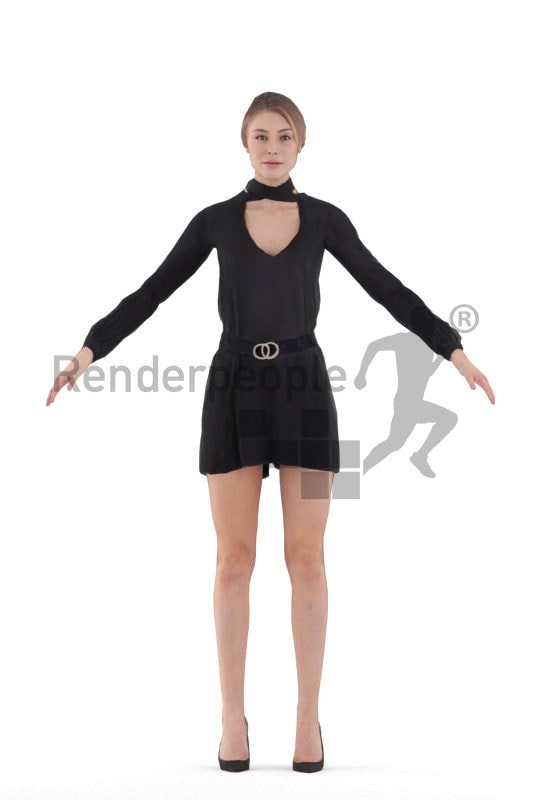 Rigged 3D People model for Maya and Cinema 4D – white woman in an event outfit