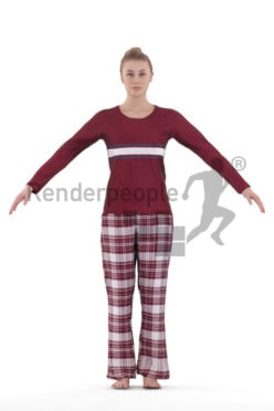 3d people sleepwear, white 3d woman rigged
