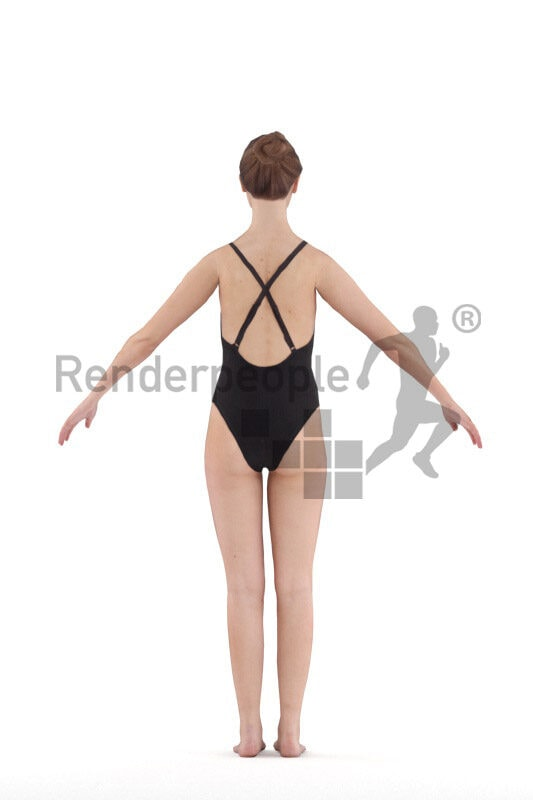 Rigged human 3D model by Renderpeople – european woman in black swimmsuit