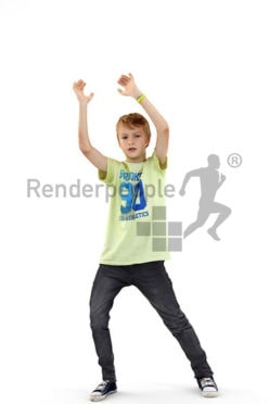 3d people kids, white 3d child catching a ball