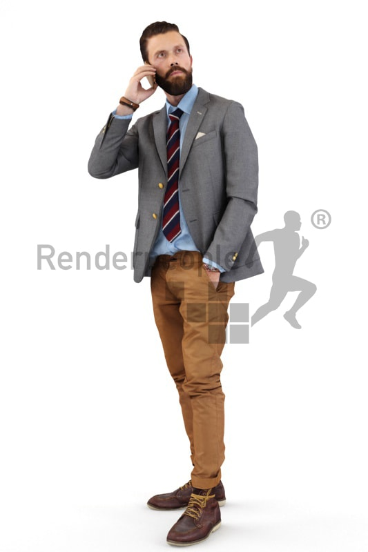 3d people casual, white 3d man talking on the phone