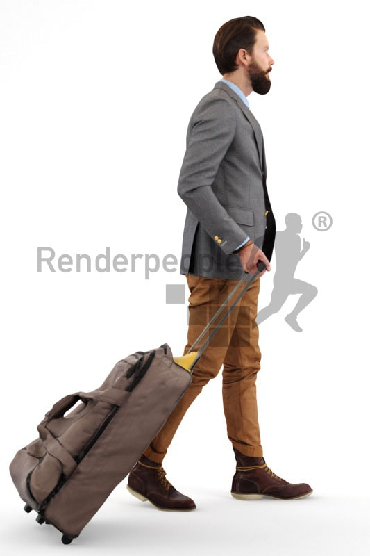 3d people casual, white 3d man pulling a trolley