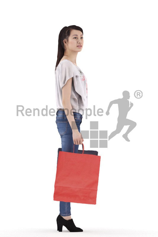 Posed 3D People model for visualization – asian woman in smart casual look, standing with shopping bags