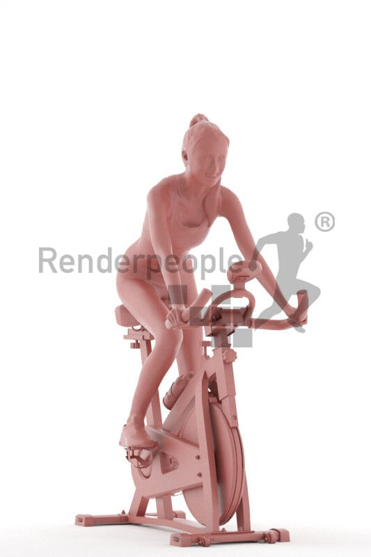 Scanned human 3D model by Renderpeople – asian woman in gym outfit, using an ergometer