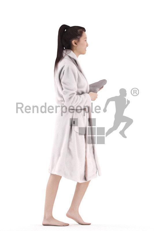 Posed 3D People model by Renderpeople – asian woman walking in bathrobe, carrying towel
