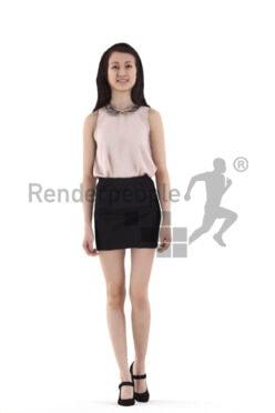 Posedd 3D People model renderings – asian woman in business/event look, walking