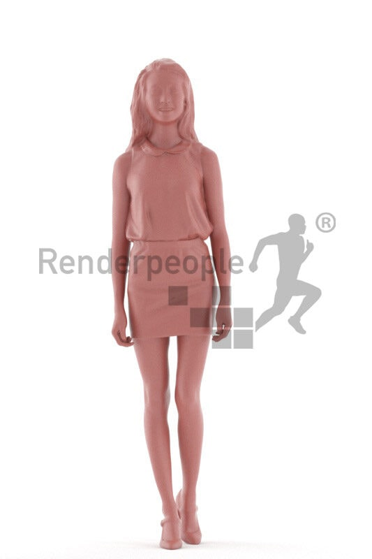 Posedd 3D People model renderings – asian woman in business/event look, walking