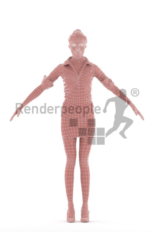 Rigged 3D People model for Maya and 3ds Max – european woman in business shirt and skirt