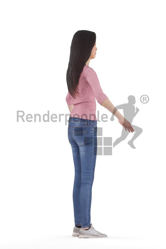 Rigged 3D People model for Maya and 3ds Max – asian woman in casual daily outfit