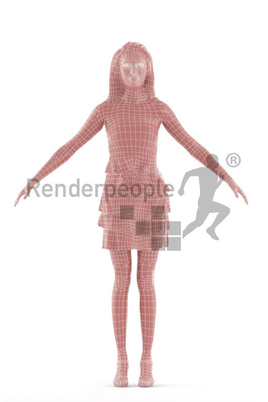 Rigged 3D People model for Maya and 3ds Max – asian woman in event look