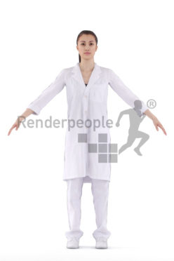 Rigged and retopologized 3D People model - european woman in healthcare outfit