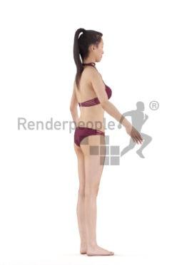Rigged human 3D model by Renderpeople – asian woman in bikini