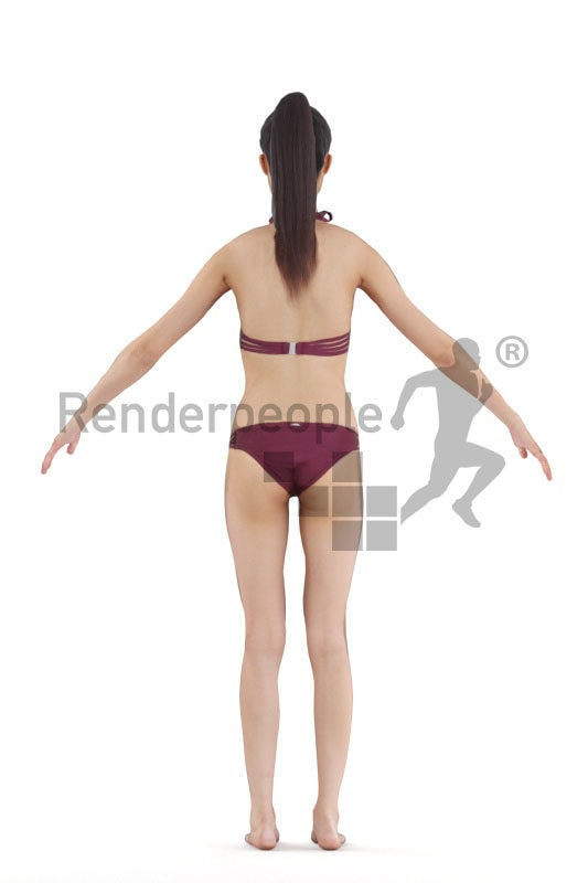 Rigged human 3D model by Renderpeople – asian woman in bikini