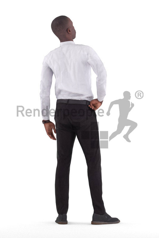 Animated 3D People model for realtime, VR and AR – black male in business outfit, standing