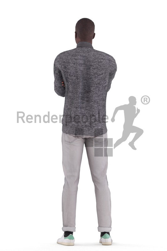 Animated 3D People model for visualization – black male, casual, standing