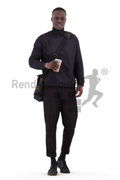 Scanned 3D People model for visualization – black male in business look, walking with coffee to go cup and bag