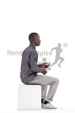 Photorealistic 3D People model by Renderpeople – black male in smart casual outfit, sitting and communicating
