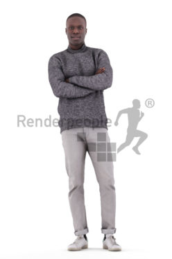 Posed 3D People model for renderings – black male in smart casual look, standing and waiting