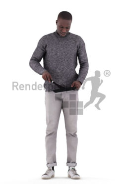 Posed 3D People model for renderings – black man in casual outfit, cooking, pan
