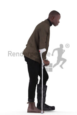 Photorealistic 3D People model by Renderpeople – black man in smart casual look, with foot injury and walking aid