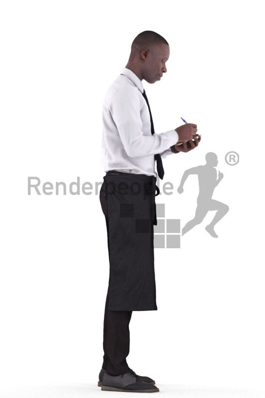 3D People model for 3ds Max and Maya – black waiter, wearing an apron, taking orders