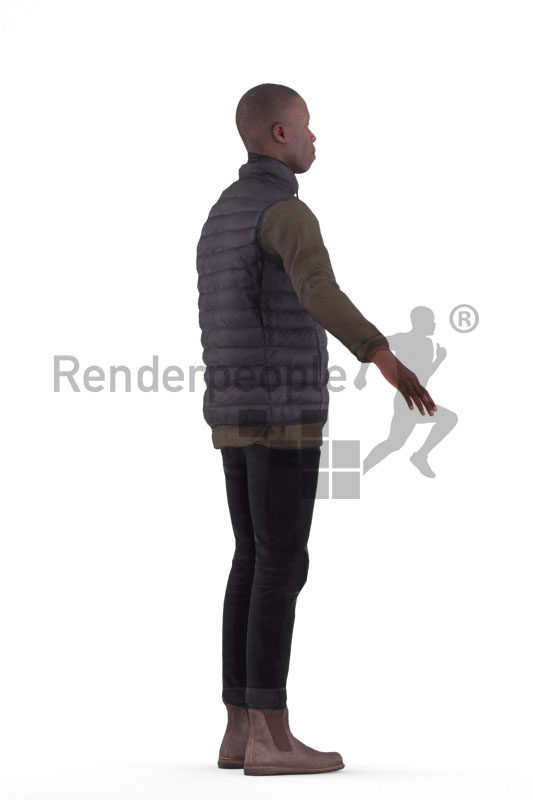 3d people outdoor, black 3d man rigged