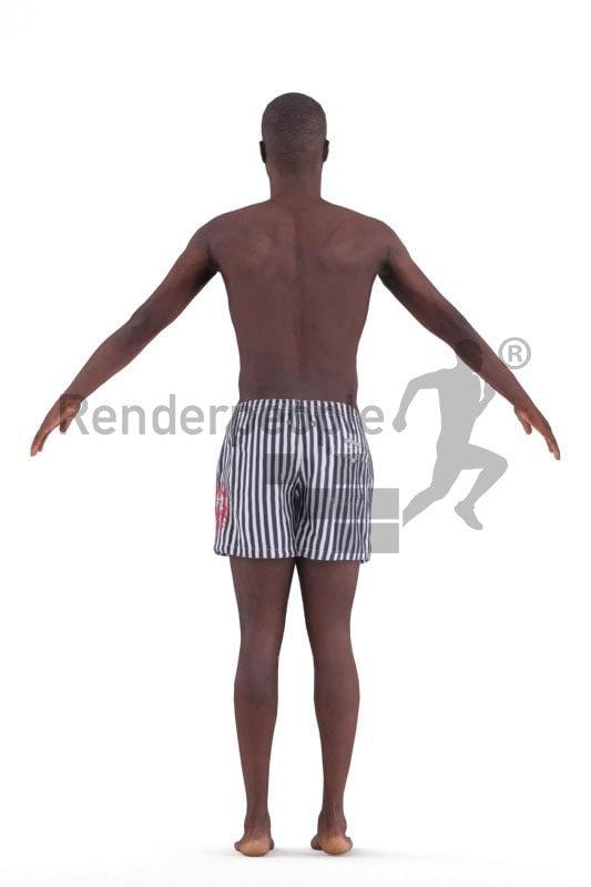 3d people beach/pool, 3d people black man rigged